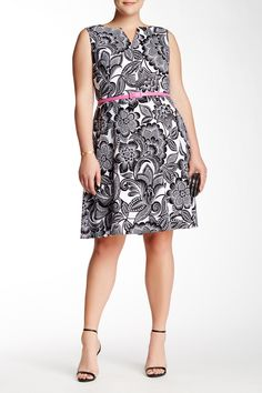 Wallpaper Leaf Belted Dress (Plus Size) by Maggy London on @nordstrom_rack