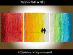 Birds art Original Large oil painting Rainbow Love by QiQiGallery Wow Painting, Love Birds Painting, Rainbow Painting, Paintings I Love, Large Painting, Original Paintings, Painting Abstract, Original Art, Online Painting