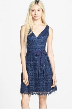 Hailey Adrianna Papell Sequin Lace Fit & Flare Dress size 6 NWT $170