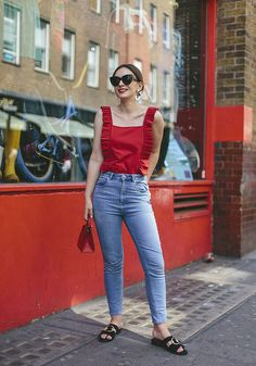 £39 Crescent Ruffle Red Cami A Straight Neckline And Thick Straps Teamed With ASOS FARLEIGH High Waist Slim Mom Jeans in Prince Wash £32