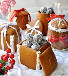 Новогодние подарки своими руками. Съедобные пряничные коробочки с конфетами (5) (610x679, 345Kb)