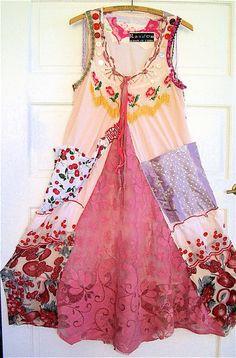 PINK SLIP DRESS Wearable Art Fabric Collage Art  Vintage Antique Linens  My Bonny