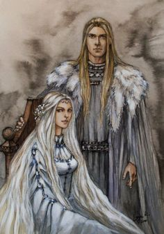 SciFi & Fantasy Artwork by Liga marta Klavina Queen of the stars from Tolkien`s writings. Tuor, his wife Idril and son Earendil after the fall of Gondolin. Finrod and Amarie before their parting. Galadriel`s parents. Haldir. Arwen. Celeborn. Earwen, mother of Galadriel. Finduilas, princess of…