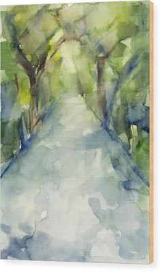 Path Conservatory Garden Central Park Watercolor Painting Wood Print by Beverly Brown Prints