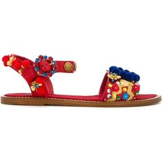 Dolce & Gabbana Embellished Flat Sandals ($1,395) ❤ liked on Polyvore featuring shoes, sandals, red, flat sandals, red flat shoes, open toe flats, ankle wrap sandals and red ankle strap sandals