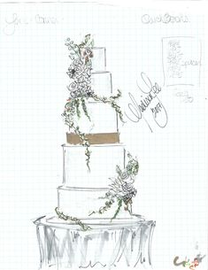 Wedding cake sketch by Madison Lee. Courtesy of Madison Lee's Cakes. Watercolor Journal, Watercolor Cards, Wedding Cake Illustrations, Cake Sketch, Watercolor Wedding Cake, Cake Drawing, Dessert Illustration, Wedding Embroidery, Couture Cakes