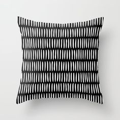 Classy Handpainted Stripes Pattern Black, Scandinavian Design Couch Throw Pillow by Pela - Cover x with pillow insert - Indoor Pillow White Throws, White Throw Pillows, Fluffy Pillows, Throw Cushions, Down Pillows, Scandinavian Pattern, Scandinavian Interior, Designer Pillow, Designer Throw Pillows