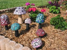 mosaic garden mushrooms