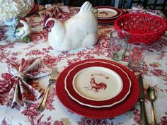 Rise and shine it& breakfast time! They say breakfast is the most important meal of the day. It gives us energy to face the day and . Deco Table, A Table, Dining Table, Red Cottage, French Cottage, Cottage Style, French Country Decorating, Country French, Country Charm