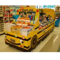 P047 Cartoon Car FSDU Cardboard Display for Office Supplies_Dump Bins