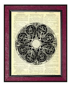 CELTIC ART- MANDALA  Dictionary Print Antique Dictionary Art Print Recycled Art Print Book Page Book Page Art Book Print. $9.00, via Etsy.
