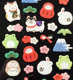 Japanese Stickers -Traditional Japanese Symbols - Lucky Cat Blossoms Fuzzy S228
