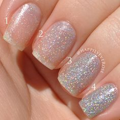1, 2, 3, and 4 coats of Revlon Holographic Pearls. |  HappilyEveRose