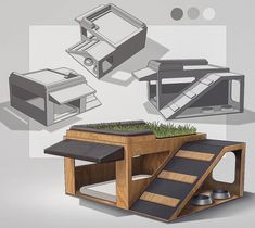 dog house Dog House Design for weeklydesignchallenge. Dual level with a little rooftop grass patio. Modern Dog Houses, Cool Dog Houses, Outside Dog Houses, Dog House Plans, House Dog, Small Dog House, Dog Furniture, Furniture Online, Dog Rooms