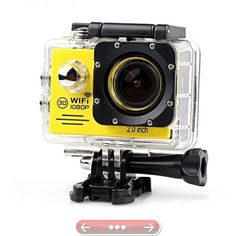Lightdow LD6000 1080P HD Wifi Sports Action Camera Kit  2.0 LCD  170 Wide Angle Lens  DSP-NT96655  Bonus Battery (YellowWiFi)