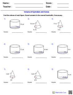 prisms pyramids cylinders cones volume worksheets math aids com math math worksheets. Black Bedroom Furniture Sets. Home Design Ideas