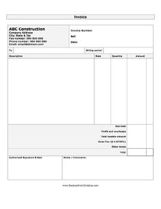 A printable invoice for use by businesses in the construction industry. Free to download and print