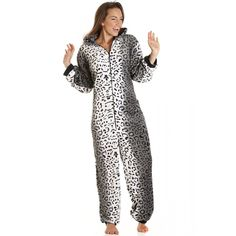 d3d159bb70c Camille Womens Supersoft Luxury Fleece Grey Snow Leopard Cat All In One  Onesie
