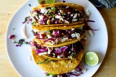 crisp black bean tacos with feta and slaw – smitten kitchen Veggie Recipes, Mexican Food Recipes, Vegetarian Recipes, Dinner Recipes, Cooking Recipes, Dinner Ideas, Veggie Meals, Entree Recipes, Meal Ideas