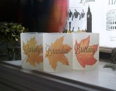 Fall Leaf Vellum Luminarie Head Table Place Cards by paperpixie