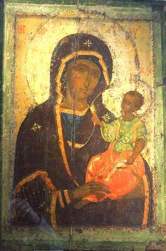 Богоматерь Одигитрия. Икона из Покровского монастыря в Суздале. 1360-е годы. ГТГ.