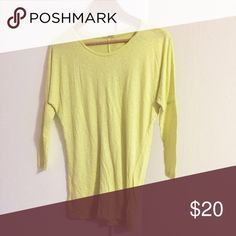 LAmade Dolman Sleeve Tee in Lemon Long, drop sleeve tee, longer tunic fit. In good used condition, with some minor signs of overall wear to the fabric but no holes, no damage. Great basic in lemon yellow. Purchased at Nordstroms. LAmade Tops