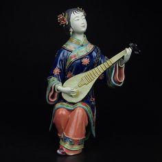 Arte popular colección de figurillas de porcelana de cerámica tradicional china syx020 vivid mujer tocando instrumentos musicales para el regalo(China (Mainland))