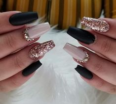 74 Nail Designs Ideas for 2019 - Nails - # For .- 74 Nail Designs Ideas for 2019 – Nails – # For - Best Acrylic Nails, Matte Nails, Stiletto Nails, Black Coffin Nails, Black And Nude Nails, Rose Gold Nails, Silver Nails, Dark Nails With Glitter, Navy Blue Nails