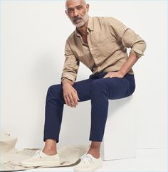 Garment-Dyed Wash Shirt: Lono Brazil dons a J.Crew wash shirt with chinos.
