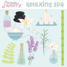 Relaxing Spa Clip Art Set by danger0usangel03 on Etsy, $5.00