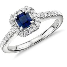 Blue Nile Asscher Cut Sapphire and Diamond Halo Ring ($895) ❤ liked on Polyvore featuring jewelry, rings, sapphire jewelry, blue nile, sparkle jewelry, sapphire ring and 14 karat gold ring
