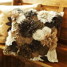 View the Felt Garden Pillow from Arhaus. Soft and cozy. These wool felt pillows are sure make you want to cuddle up! Made with beautiful appliqu Diy Pillow Covers, Diy Pillows, Toss Pillows, Felt Cushion, Felt Pillow, Cushion Embroidery, Shabby Chic Crafts, Decorative Cushions, Felt Flowers