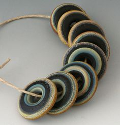 Rustic Tapestry Discs 8 Handmade Lampwork Beads by outwest, $24.00