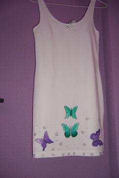 Vestido de algodón pintado a mano. Www.brotesymas.es