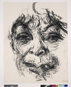 Maggi Hambling. Portrait of Henrietta Moraes; full-face, over life size, seen from below the lips to the forehead. 7 June 1998 Charcoal