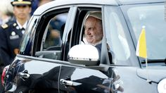 JOINT BASE ANDREWS, MD - SEPTEMBER 22:   (AFP OUT) Pope Francis departs in a Fiat after arriving from Cuba September 22, 2015 at Joint Base Andrews, Maryland. Francis will be visiting Washington, New York City and Philadelphia during his first trip to the United States as Pope.  (Photo by Olivier Douliery-Pool/Getty Images)