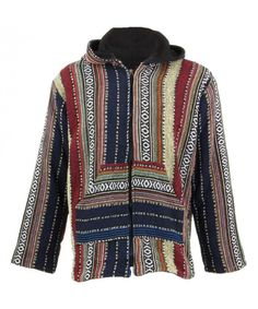 LOUDelephant Fleece Lined Woven Zip Hoodie - Navy, Red & Cream