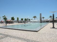 The main square in Portimao, Portugal with its fantastic ice cream parlour at the end of the water feature
