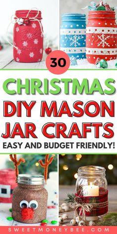 Mason Jar Christmas Crafts, Christmas On A Budget, Jar Crafts, Diy Christmas Gifts, Christmas Deserts, Cheap Christmas, Christmas Stuff, Mini Mason Jars, Mason Jar Gifts