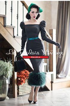 le palais vintage retro stitching woolen Pencil dress (SIZES: S, M)  #Handmade #WigglePencil