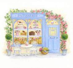 cute little sweet shop Lisa Anderson illustration House Illustration, 3d Prints, Cute Drawings, Cute Art, Folk Art, Watercolor Paintings, Origami, Sketches, Artwork