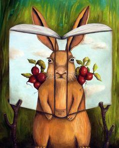 Lector y libros.. mimetizados (ilustración de Leah Saulnier)