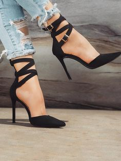 ae912c9a189 Shop Crisscross Buckle Design Pointed Toe Heel Sandals right now