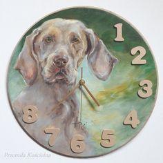 Clock Weimaraner dog portrait Original Oil by CanisArtStudio