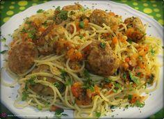 No Conforto da Minha Cozinha...: Spaghetti com Almôndegas e uma lembrança de infância...(passo-a-passo)