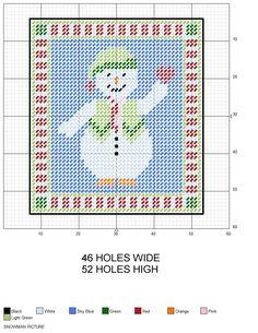 Christmas Snowman Picture plastic canvas pattern