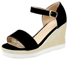 861f313db920 Mofri Womens Casual Ankle Strap Wedge Sandals Color Block Open Toe Platform  Buckle High Heels Espadrilles