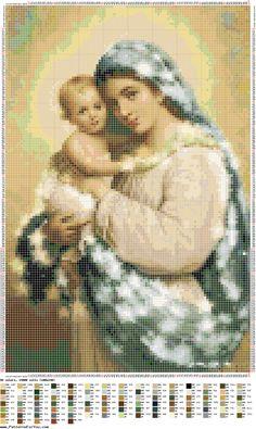 Patrón punto de Cruz - Virgen María con niño
