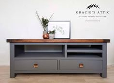 Gracie's Attic Bespoke Painted Furniture by GraciesAtticShop Tv Stand Upcycle, Grey Painted Tv Stand, Upcycled Furniture Before And After, Furniture, Selling Furniture, Upcycled Furniture, Tv Stand, Grey Tv Stand, Upcycled Furniture Diy