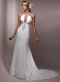 Gorgeous Scoop A-line Chapel Train bridal gowns